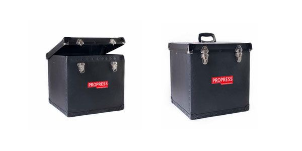 Steamer Accessories: Propress Carrying Case, closed and open - front and angled view